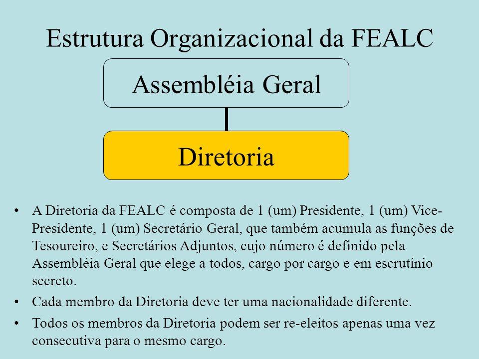 Estrutura Organizacional da FEALC Assembléia Geral Diretoria A Diretoria da FEALC é composta de 1 (um) Presidente, 1 (um) Vice- Presidente, 1 (um) Sec