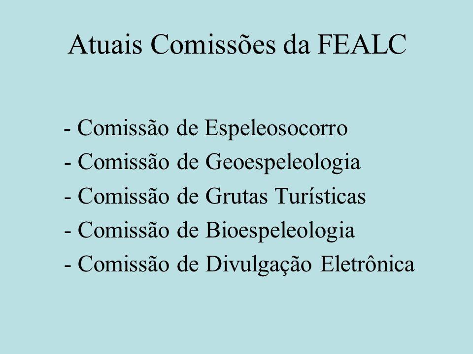 Atuais Comissões da FEALC - Comissão de Espeleosocorro - Comissão de Geoespeleologia - Comissão de Grutas Turísticas - Comissão de Bioespeleologia - C