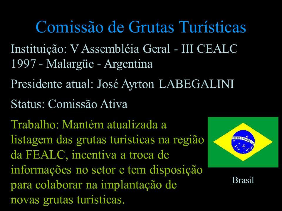 Comissão de Grutas Turísticas Presidente atual: José Ayrton LABEGALINI Brasil Status: Comissão Ativa Trabalho: Mantém atualizada a listagem das grutas
