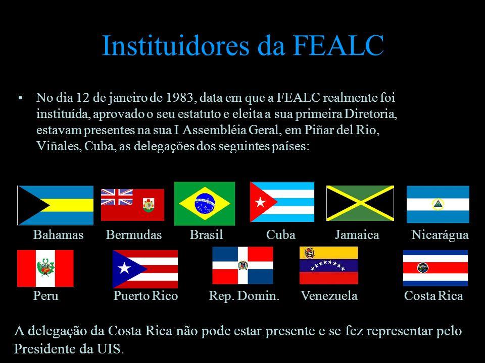 Instituidores da FEALC No dia 12 de janeiro de 1983, data em que a FEALC realmente foi instituída, aprovado o seu estatuto e eleita a sua primeira Dir