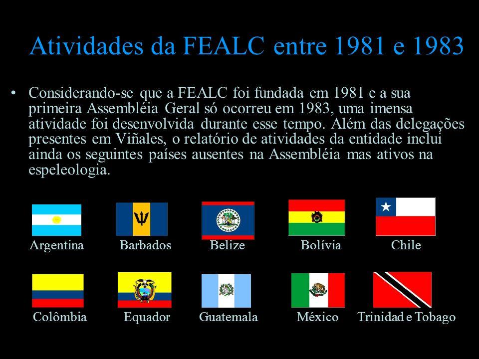 Atividades da FEALC entre 1981 e 1983 Considerando-se que a FEALC foi fundada em 1981 e a sua primeira Assembléia Geral só ocorreu em 1983, uma imensa
