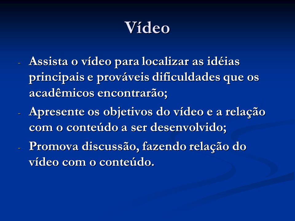 Vídeo - Assista o vídeo para localizar as idéias principais e prováveis dificuldades que os acadêmicos encontrarão; - Apresente os objetivos do vídeo