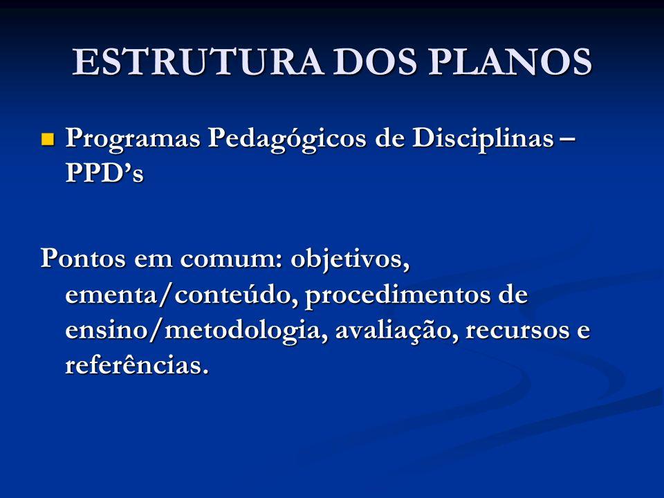 ESTRUTURA DOS PLANOS Programas Pedagógicos de Disciplinas – PPDs Programas Pedagógicos de Disciplinas – PPDs Pontos em comum: objetivos, ementa/conteú