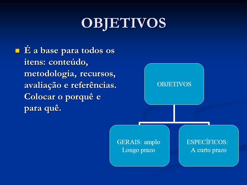 OBJETIVOS É a base para todos os itens: conteúdo, metodologia, recursos, avaliação e referências. Colocar o porquê e para quê. É a base para todos os