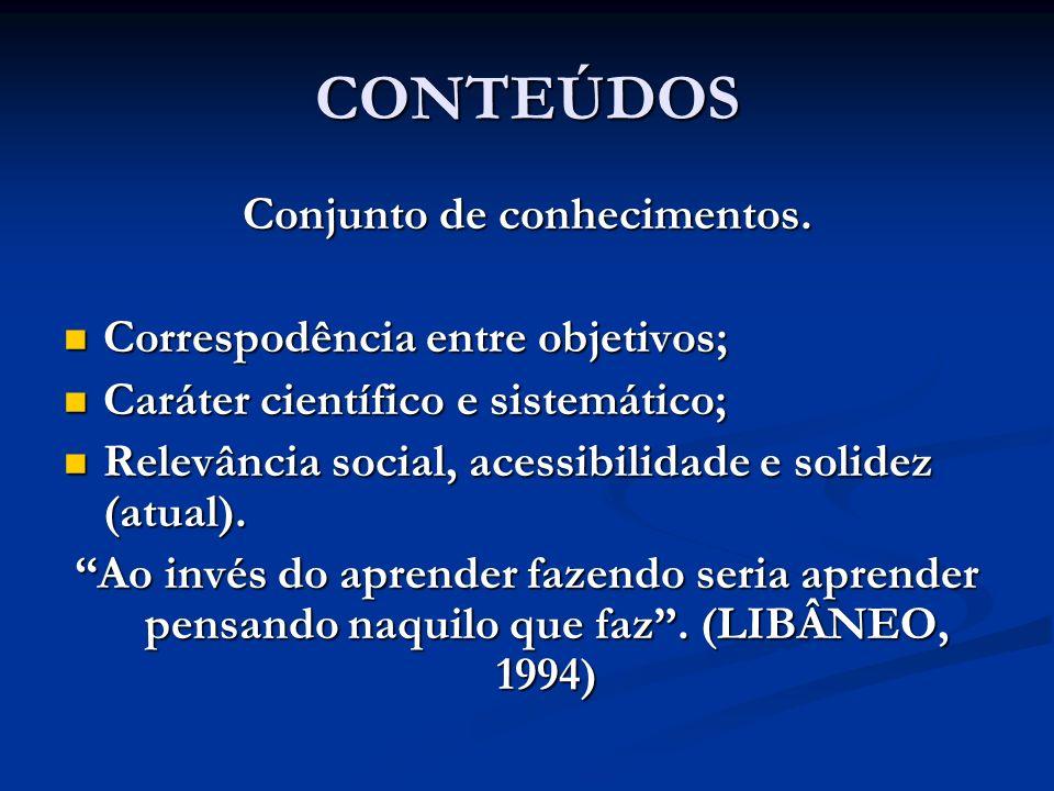 CONTEÚDOS Conjunto de conhecimentos. Correspodência entre objetivos; Correspodência entre objetivos; Caráter científico e sistemático; Caráter científ