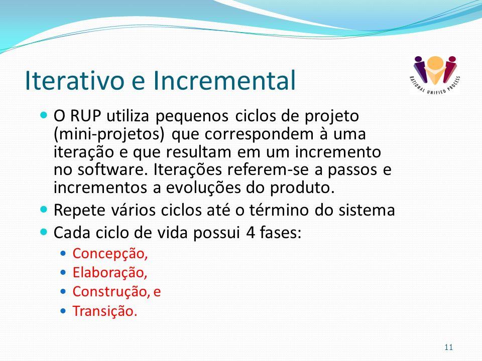 Iterativo e Incremental O RUP utiliza pequenos ciclos de projeto (mini-projetos) que correspondem à uma iteração e que resultam em um incremento no so