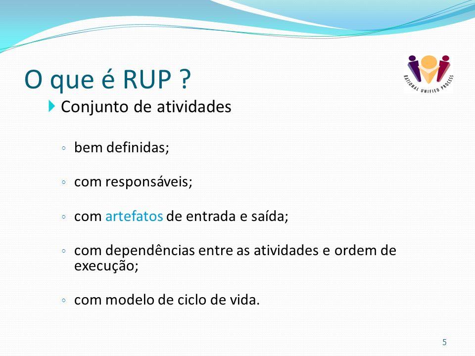 O que é RUP ? Conjunto de atividades bem definidas; com responsáveis; com artefatos de entrada e saída; com dependências entre as atividades e ordem d