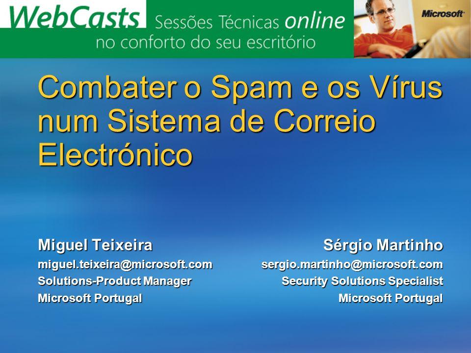 Combater o Spam e os Vírus num Sistema de Correio Electrónico Miguel Teixeira miguel.teixeira@microsoft.com Solutions-Product Manager Microsoft Portug