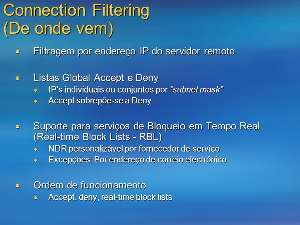 Connection Filtering (De onde vem) Filtragem por endereço IP do servidor remoto Listas Global Accept e Deny IPs individuais ou conjuntos por subnet ma
