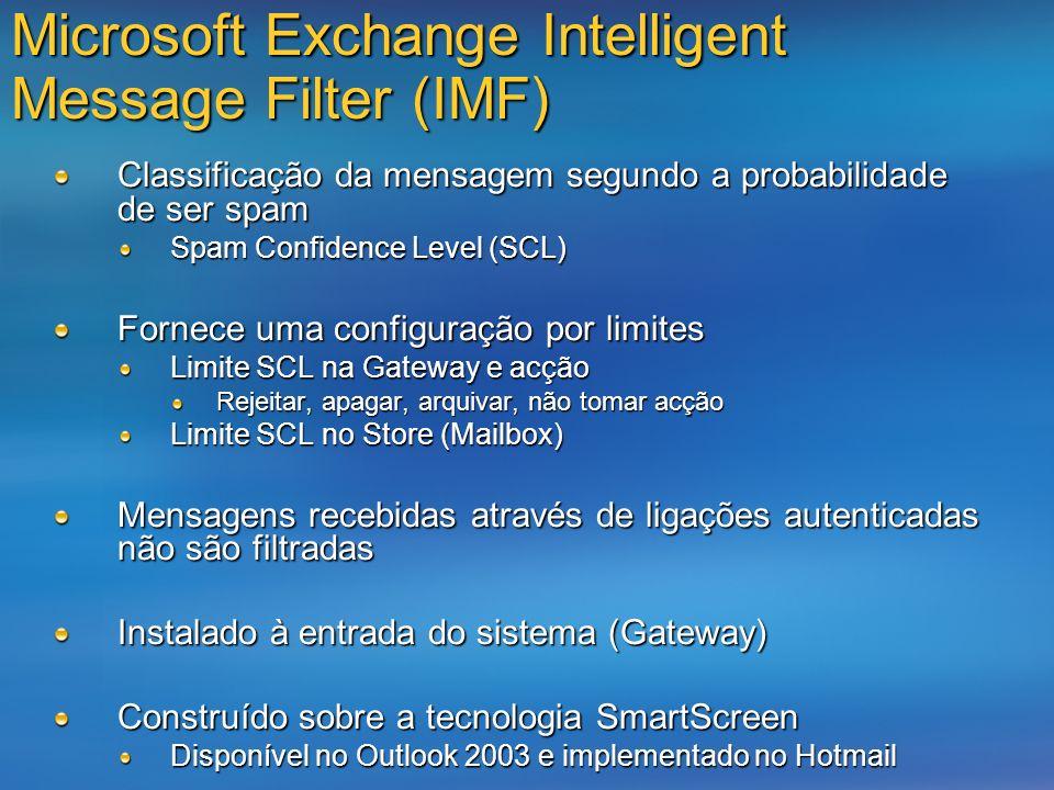 Microsoft Exchange Intelligent Message Filter (IMF) Classificação da mensagem segundo a probabilidade de ser spam Spam Confidence Level (SCL) Fornece