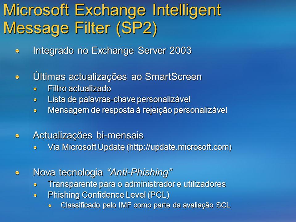 Microsoft Exchange Intelligent Message Filter (SP2) Integrado no Exchange Server 2003 Últimas actualizações ao SmartScreen Filtro actualizado Lista de