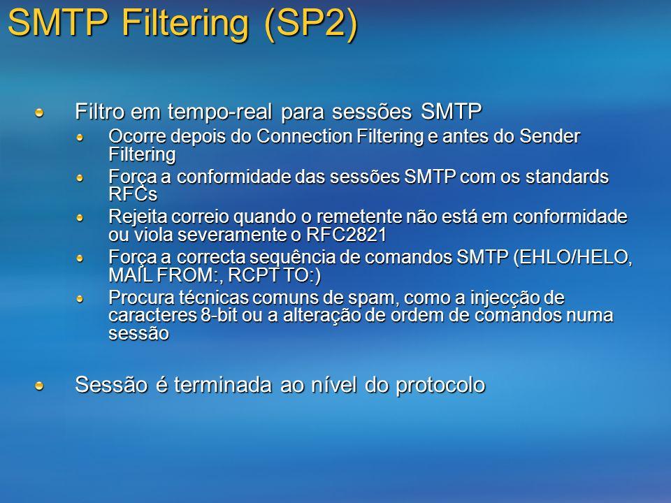SMTP Filtering (SP2) Filtro em tempo-real para sessões SMTP Ocorre depois do Connection Filtering e antes do Sender Filtering Força a conformidade das