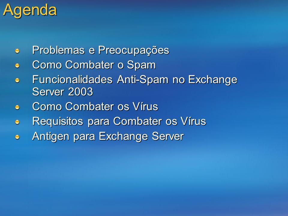 Agenda Problemas e Preocupações Como Combater o Spam Funcionalidades Anti-Spam no Exchange Server 2003 Como Combater os Vírus Requisitos para Combater