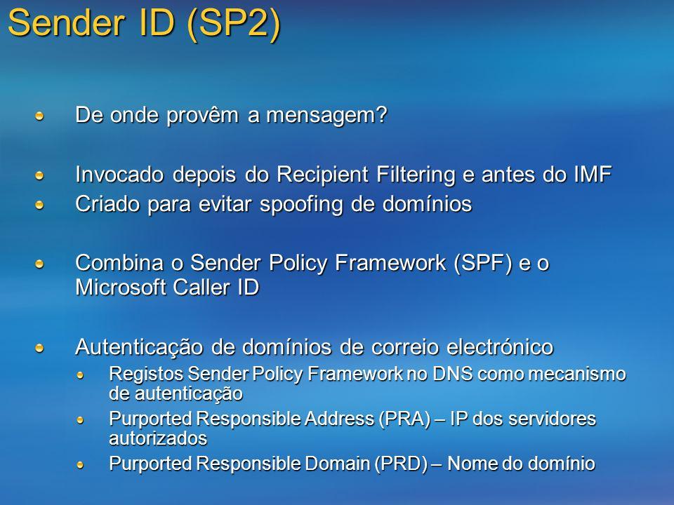 Sender ID (SP2) De onde provêm a mensagem? Invocado depois do Recipient Filtering e antes do IMF Criado para evitar spoofing de domínios Combina o Sen