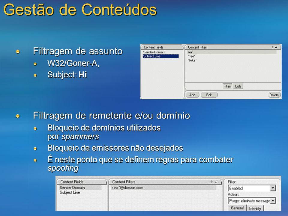 Gestão de Conteúdos Filtragem de assunto W32/Goner-A, Subject: Hi Filtragem de remetente e/ou domínio Bloqueio de domínios utilizados por spammers Blo