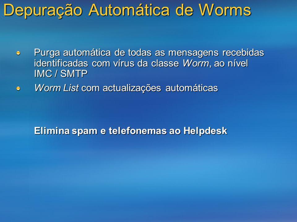 Depuração Automática de Worms Purga automática de todas as mensagens recebidas identificadas com vírus da classe Worm, ao nível IMC / SMTP Worm List c