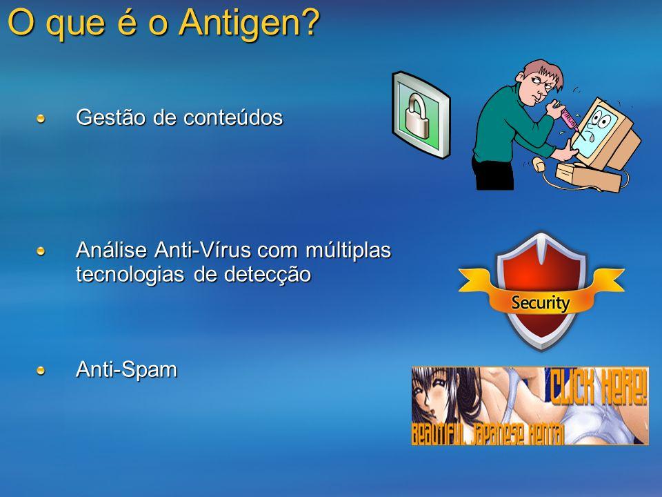O que é o Antigen? Gestão de conteúdos Análise Anti-Vírus com múltiplas tecnologias de detecção Anti-Spam