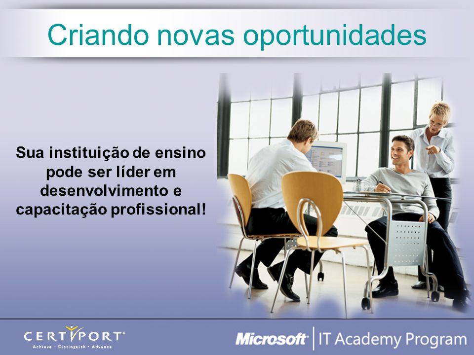 Treinamento On-line do Corpo Docente (Office) E-Learning (Office) + Learning Management System Centro de Recursos do Instrutor On-line 50 Licenças de Laboratório para Office XP e 2003 Preço Acadêmico no MOAC Recursos de Marketing Pacote de Benefícios