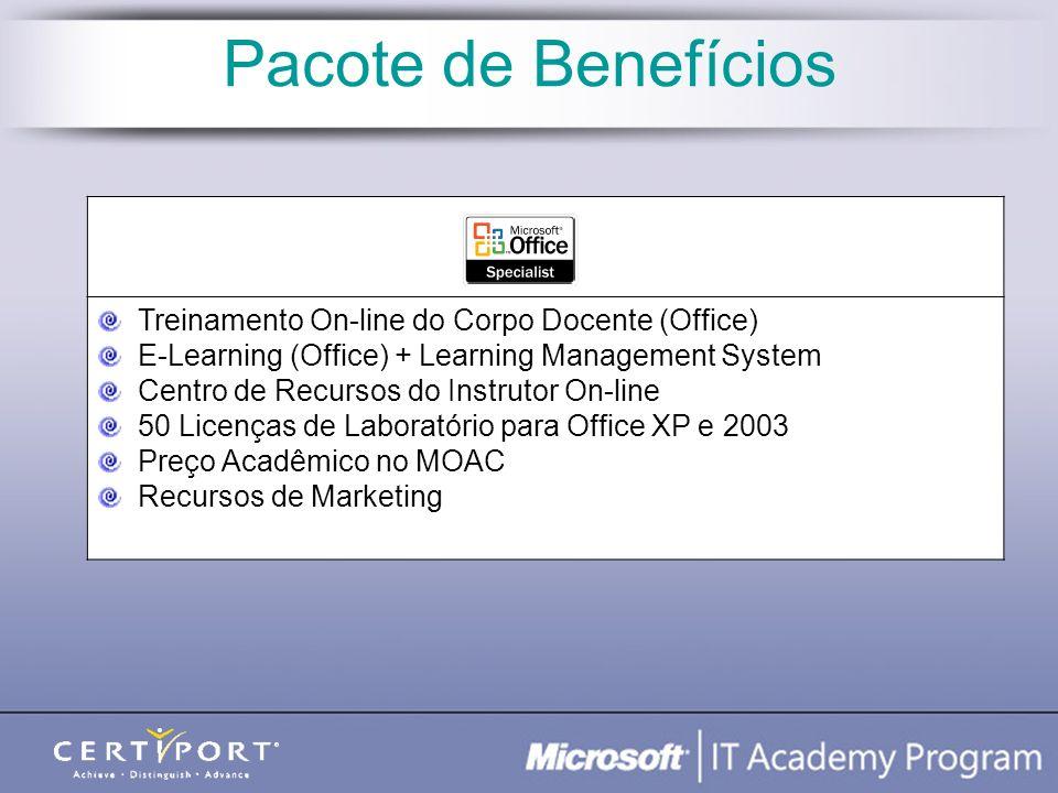 Treinamento On-line do Corpo Docente (Office) E-Learning (Office) + Learning Management System Centro de Recursos do Instrutor On-line 50 Licenças de