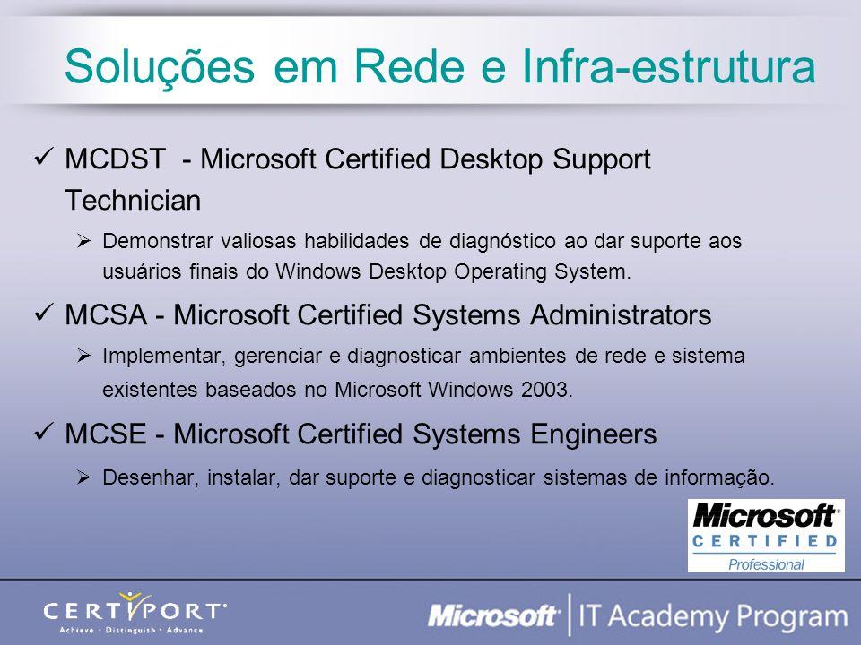 Administração de Banco de Dados MCDBA - Microsoft Certified Database Administrators Desenhar, desenvolver e manter bancos de dados; instalar e configurar a solução de software de suporte.