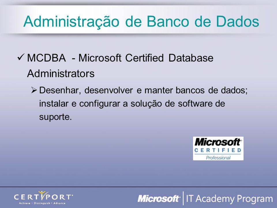 Administração de Banco de Dados MCDBA - Microsoft Certified Database Administrators Desenhar, desenvolver e manter bancos de dados; instalar e configu