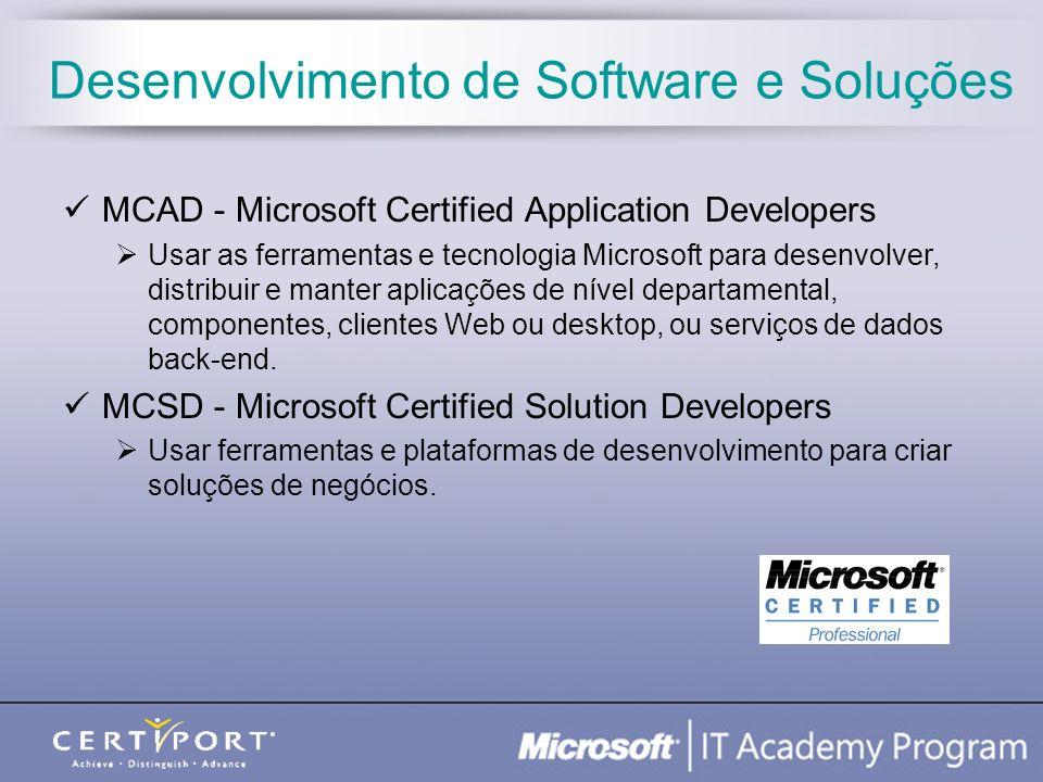 Desenvolvimento de Software e Soluções MCAD - Microsoft Certified Application Developers Usar as ferramentas e tecnologia Microsoft para desenvolver,