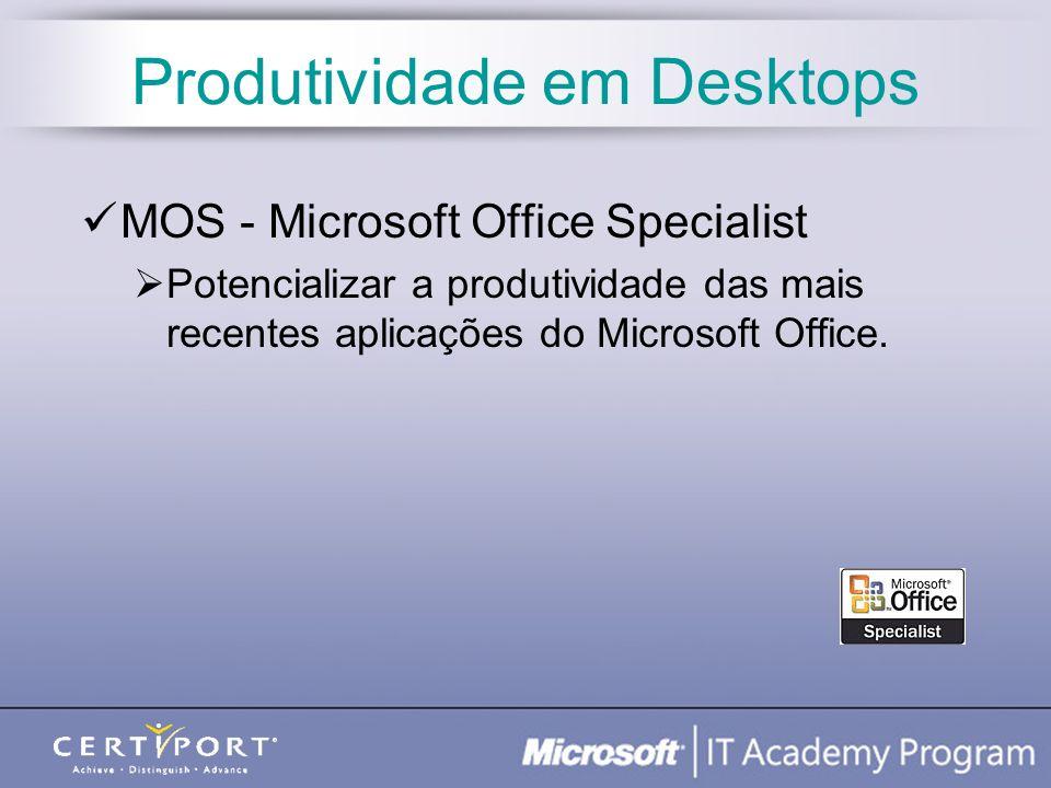 Produtividade em Desktops MOS - Microsoft Office Specialist Potencializar a produtividade das mais recentes aplicações do Microsoft Office.