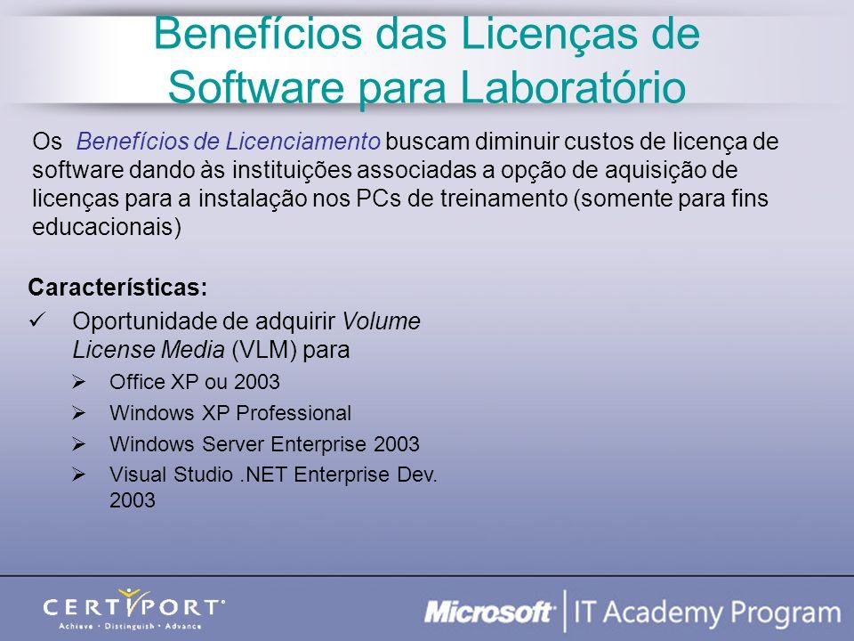 Benefícios das Licenças de Software para Laboratório Características: Oportunidade de adquirir Volume License Media (VLM) para Office XP ou 2003 Windo