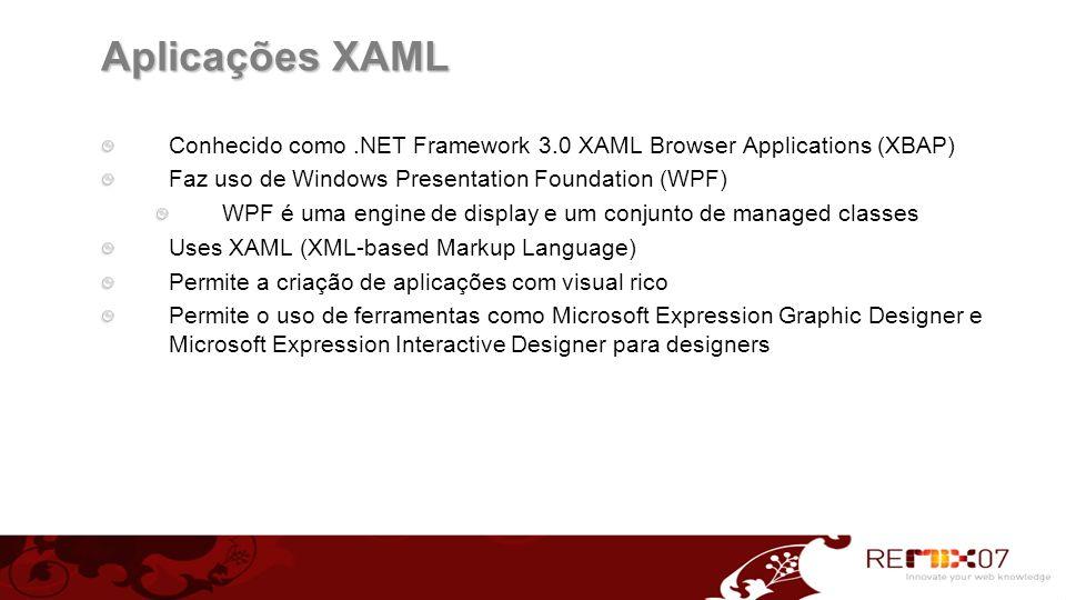 Aplicações XAML Conhecido como.NET Framework 3.0 XAML Browser Applications (XBAP) Faz uso de Windows Presentation Foundation (WPF) WPF é uma engine de