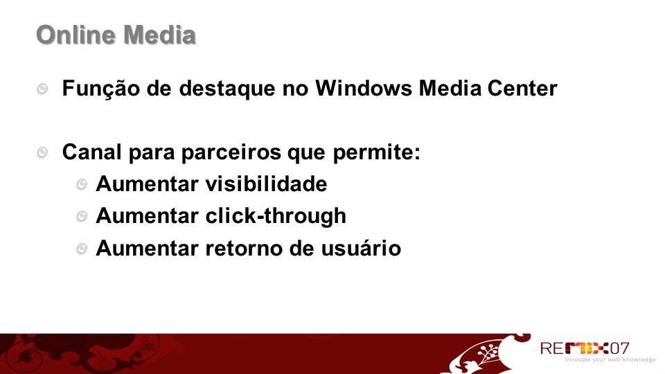 Função de destaque no Windows Media Center Canal para parceiros que permite: Aumentar visibilidade Aumentar click-through Aumentar retorno de usuário