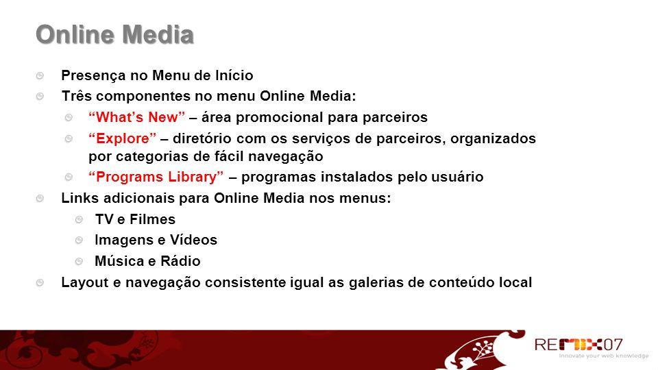 Online Media Presença no Menu de Início Três componentes no menu Online Media: Whats New – área promocional para parceiros Explore – diretório com os