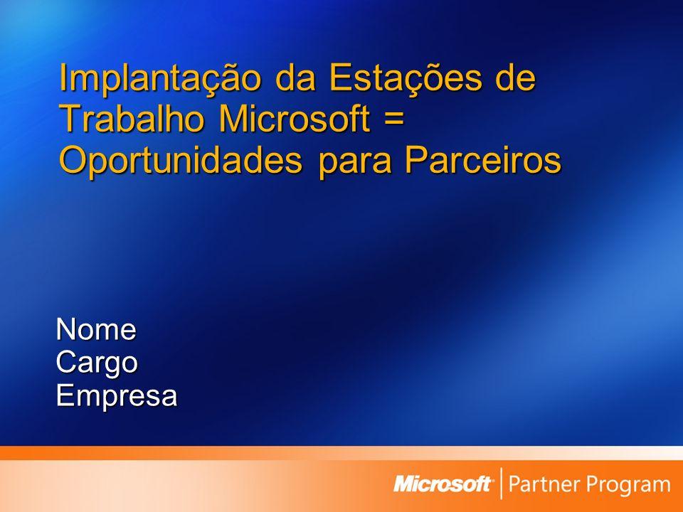 Implantação da Estações de Trabalho Microsoft = Oportunidades para Parceiros NomeCargoEmpresa