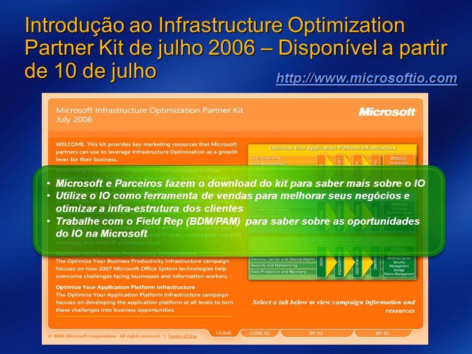 Microsoft e Parceiros fazem o download do kit para saber mais sobre o IO Utilize o IO como ferramenta de vendas para melhorar seus negócios e otimizar a infra-estrutura dos clientes Trabalhe com o Field Rep (BDM/PAM) para saber sobre as oportunidades do IO na Microsoft Introdução ao Infrastructure Optimization Partner Kit de julho 2006 – Disponível a partir de 10 de julho http://www.microsoftio.com