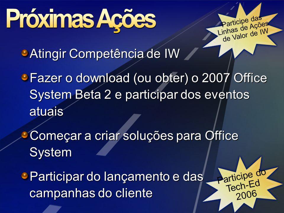 Atingir Competência de IW Fazer o download (ou obter) o 2007 Office System Beta 2 e participar dos eventos atuais Começar a criar soluções para Office System Participar do lançamento e das campanhas do cliente Participe das Linhas de Ações de Valor de IW Participe do Tech-Ed 2006