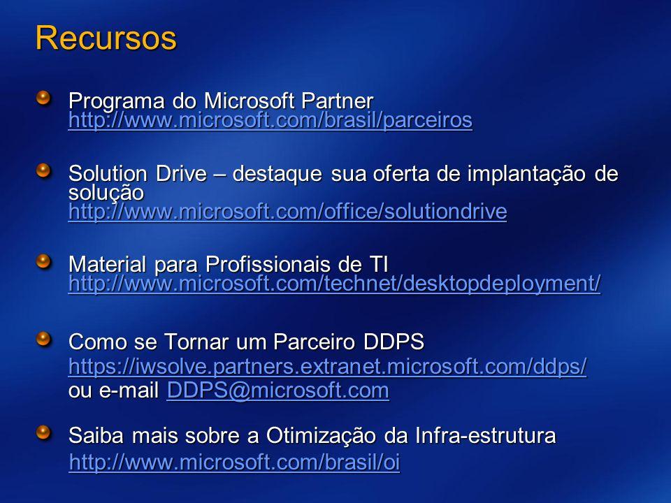 Recursos Programa do Microsoft Partner http://www.microsoft.com/brasil/parceiros http://www.microsoft.com/brasil/parceiros Solution Drive – destaque sua oferta de implantação de solução http://www.microsoft.com/office/solutiondrive http://www.microsoft.com/office/solutiondrive Material para Profissionais de TI http://www.microsoft.com/technet/desktopdeployment/ http://www.microsoft.com/technet/desktopdeployment/ Como se Tornar um Parceiro DDPS https://iwsolve.partners.extranet.microsoft.com/ddps/ ou e-mail DDPS@microsoft.com https://iwsolve.partners.extranet.microsoft.com/ddps/DDPS@microsoft.com https://iwsolve.partners.extranet.microsoft.com/ddps/DDPS@microsoft.com Saiba mais sobre a Otimização da Infra-estrutura http://www.microsoft.com/brasil/oi
