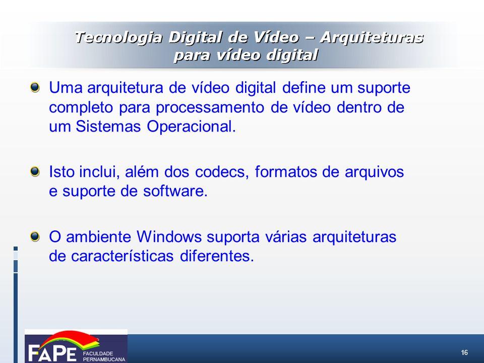 16 Uma arquitetura de vídeo digital define um suporte completo para processamento de vídeo dentro de um Sistemas Operacional. Isto inclui, além dos co