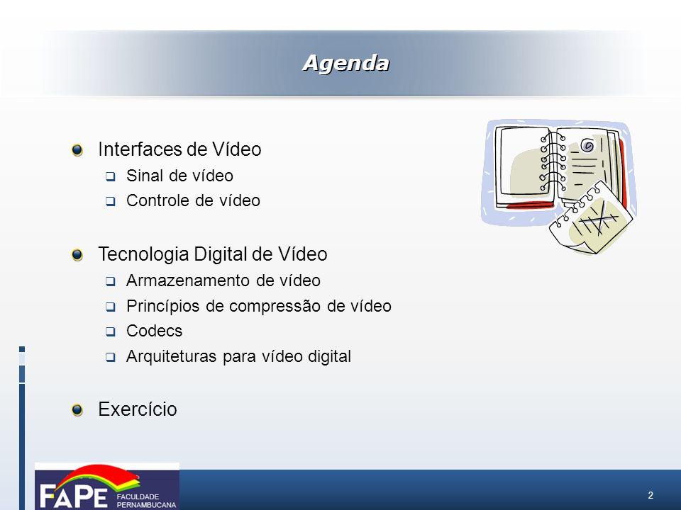 2 Interfaces de Vídeo Sinal de vídeo Controle de vídeo Tecnologia Digital de Vídeo Armazenamento de vídeo Princípios de compressão de vídeo Codecs Arq