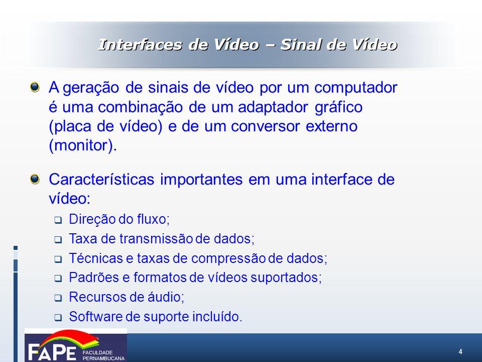 4 A geração de sinais de vídeo por um computador é uma combinação de um adaptador gráfico (placa de vídeo) e de um conversor externo (monitor). Caract