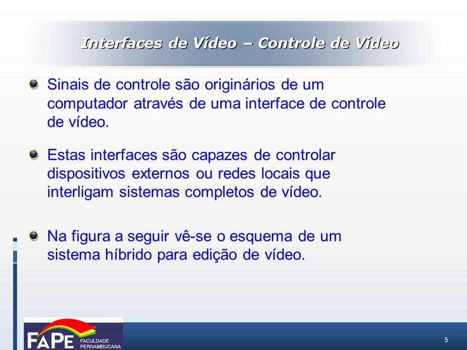 5 Sinais de controle são originários de um computador através de uma interface de controle de vídeo. Estas interfaces são capazes de controlar disposi