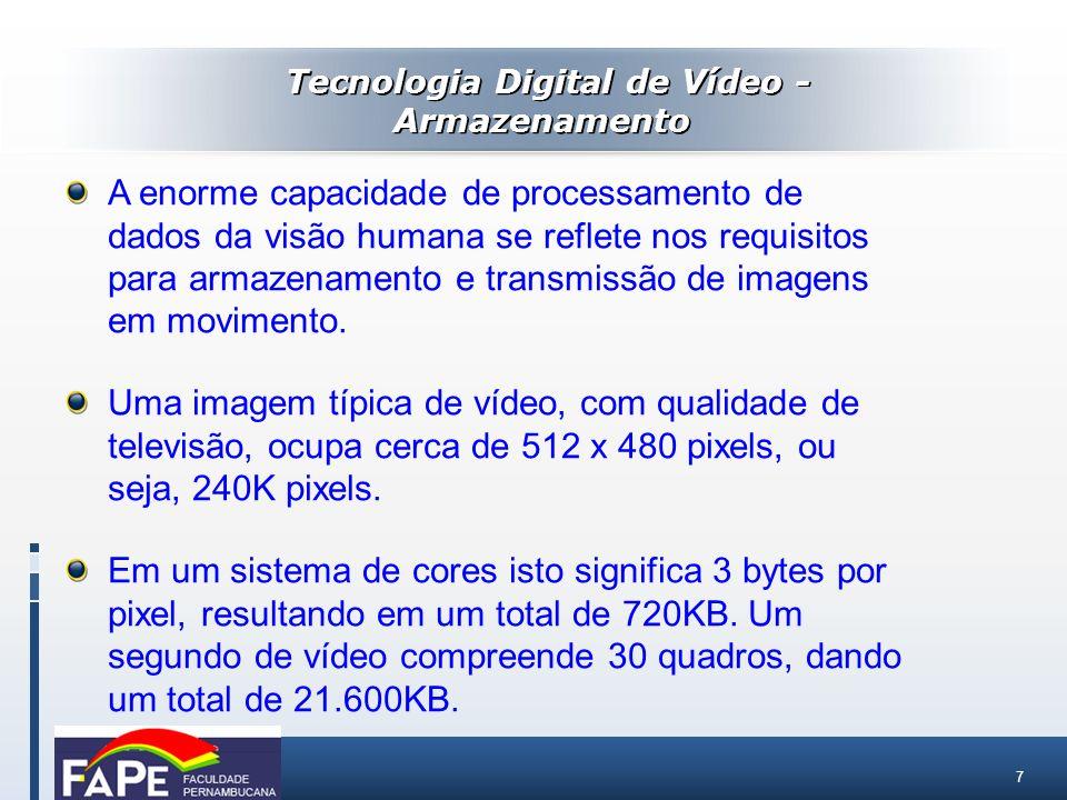 7 A enorme capacidade de processamento de dados da visão humana se reflete nos requisitos para armazenamento e transmissão de imagens em movimento. Um