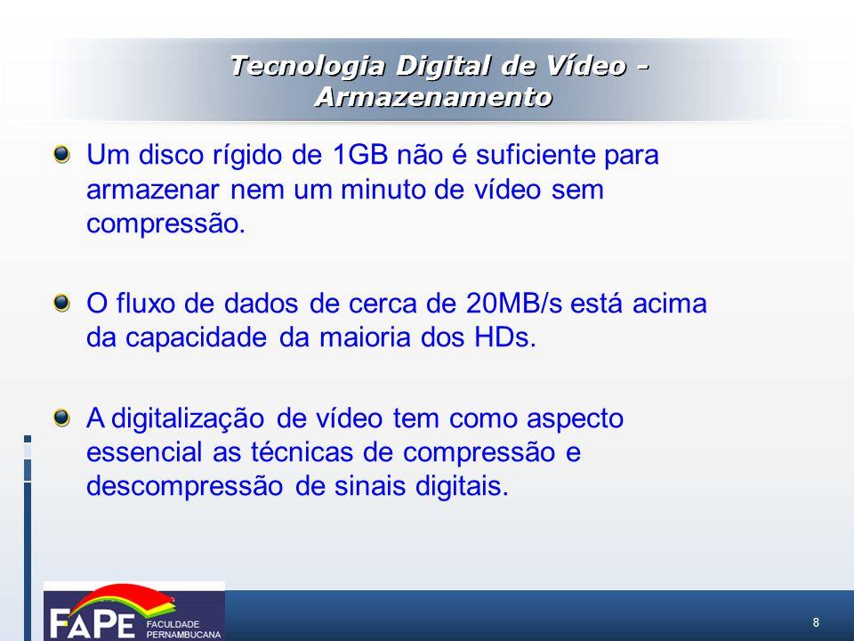 8 Um disco rígido de 1GB não é suficiente para armazenar nem um minuto de vídeo sem compressão. O fluxo de dados de cerca de 20MB/s está acima da capa
