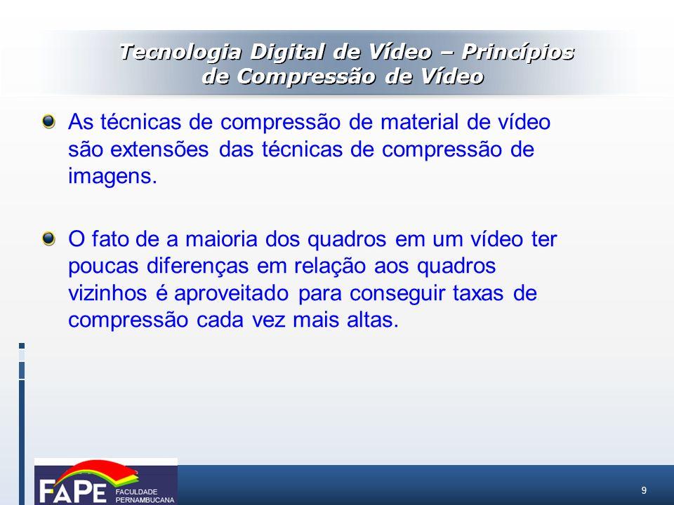 9 As técnicas de compressão de material de vídeo são extensões das técnicas de compressão de imagens. O fato de a maioria dos quadros em um vídeo ter