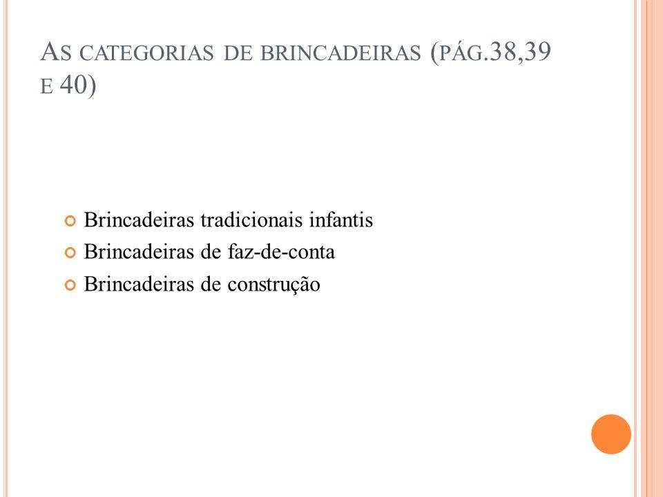 A S CATEGORIAS DE BRINCADEIRAS ( PÁG.38,39 E 40) Brincadeiras tradicionais infantis Brincadeiras de faz-de-conta Brincadeiras de construção