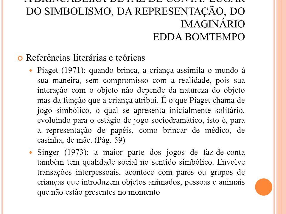 A BRINCADEIRA DE FAZ-DE-CONTA: LUGAR DO SIMBOLISMO, DA REPRESENTAÇÃO, DO IMAGINÁRIO EDDA BOMTEMPO Referências literárias e teóricas Piaget (1971): qua
