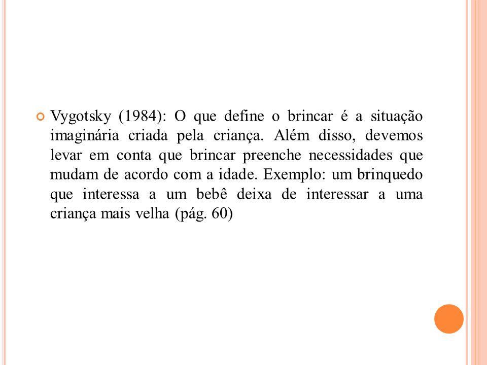 Vygotsky (1984): O que define o brincar é a situação imaginária criada pela criança. Além disso, devemos levar em conta que brincar preenche necessida