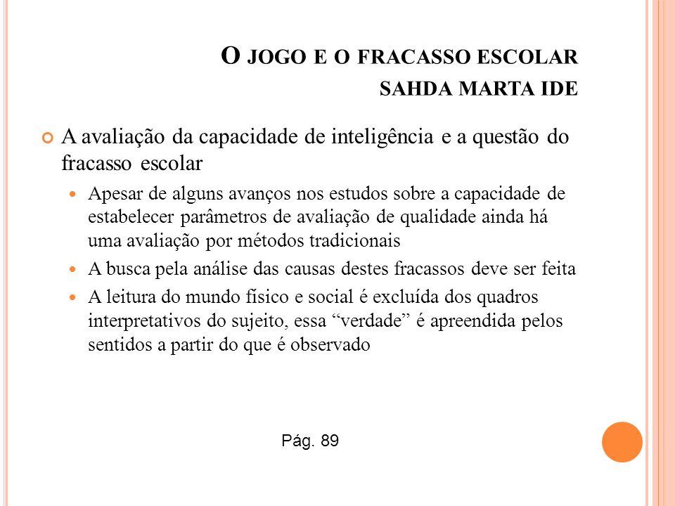 O JOGO E O FRACASSO ESCOLAR SAHDA MARTA IDE A avaliação da capacidade de inteligência e a questão do fracasso escolar Apesar de alguns avanços nos est