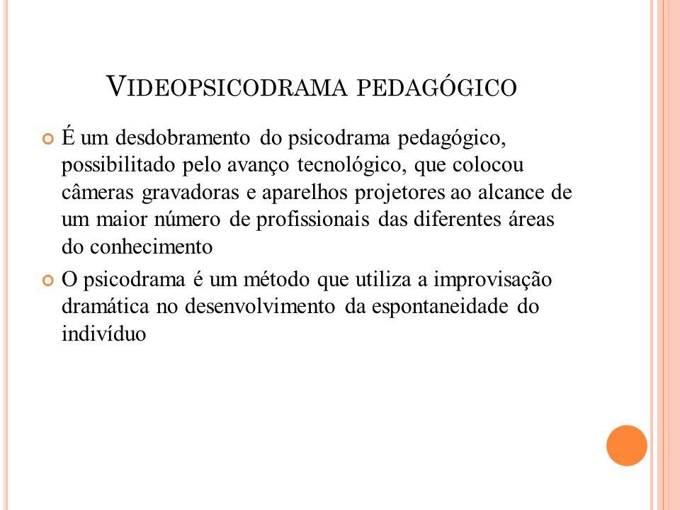 V IDEOPSICODRAMA PEDAGÓGICO É um desdobramento do psicodrama pedagógico, possibilitado pelo avanço tecnológico, que colocou câmeras gravadoras e apare