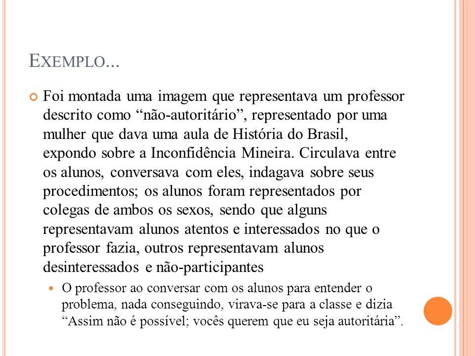 E XEMPLO... Foi montada uma imagem que representava um professor descrito como não-autoritário, representado por uma mulher que dava uma aula de Histó
