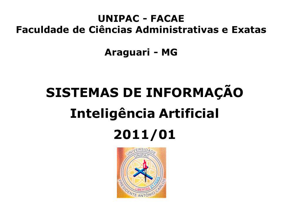 SISTEMAS DE INFORMAÇÃO Inteligência Artificial 2011/01 UNIPAC - FACAE Faculdade de Ciências Administrativas e Exatas Araguari - MG