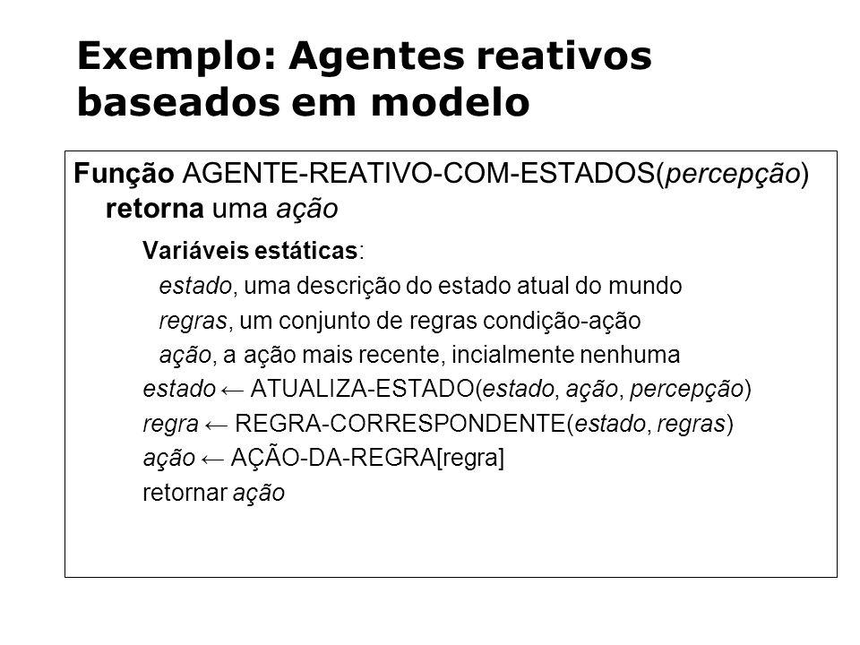 Exemplo: Agentes reativos baseados em modelo Função AGENTE-REATIVO-COM-ESTADOS(percepção) retorna uma ação Variáveis estáticas: estado, uma descrição